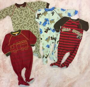 Carters Boys Size 4 Navy Football Print Fleece Footed Pajama Sleeper