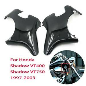 Black-Plastic-Front-Neck-Side-Frame-Guard-Cover-For-Honda-Shadow-VT400-VT750