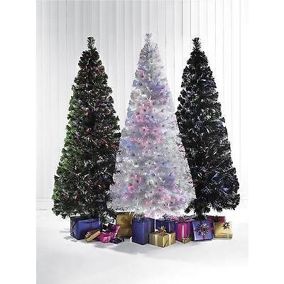 5ft 6ft 7ft White Black Green LED COLOUR CHANGING Fibre Optic Christmas Tree