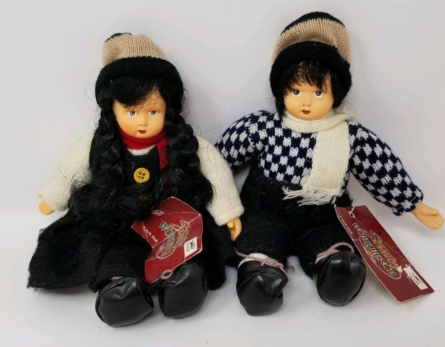 Santa's Workbench Porcelain Dolls 9  - - - 2 Dark Hair 1996 c861b0