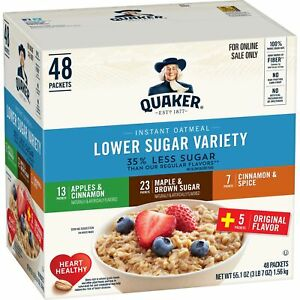 Quaker-Instant-Oatmeal-Lower-Sugar-Variety-Pack-Breakfast-Cereal-48-Packets