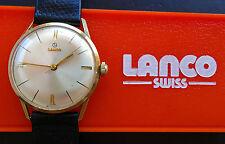 LANCO Gelbgold 14K 585 Vintage Elegante Sammler Herren Armbanduhr aus 1960