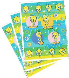 3 Sheets TWEETY Bird Looney Tunes Scrapbook Stickers 2002 STARS