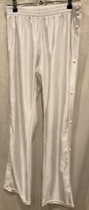 Vintage-80s-IXSPA-Silky-White-Tear-Away-Track-Windbreaker-Pants-Retro-Women-s-M