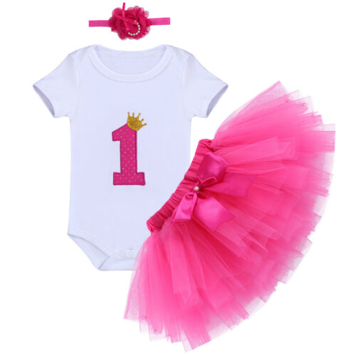 Baby Girl 1st Birthday Dress Outfit Gold Crown One Year Clothes Set Photo Shoot