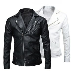 17ab283c865 Men s Cool Leather Jacket Slim Fit Motorcycle Jacket Zipper Casual ...