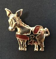 Democratic Donkey Pin Silver With D