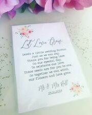 LET LOVE GROW wedding stickers personalised names wild flower seeds rustic S3