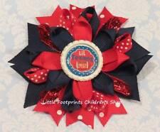 "Lil Texans Fan Red Navy Bottle Cap Loopy Hair Bow 4"""