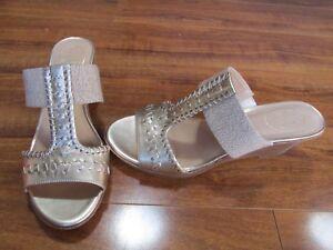 fb7c4d017f8 NEW JACK ROGERS NORA Slide Wedge Sandals WOMENS sz 9 Platinum Gold ...