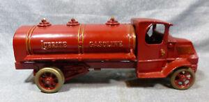 Antique-Large-Size-Arcade-Cast-Iron-Mack-Lubrite-Gasoline-Truck-c-1920-039-s