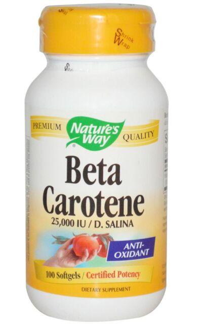 NEW NATURE'S WAY BETA CAROTENE 25,000 IU / D. SALINA VITAMIN A ANTIOXIDANT LEAF