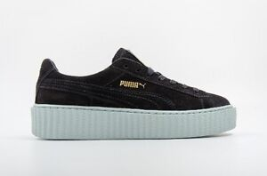 newest fdf55 5d4a5 Details about Womens Puma Suede Creepers X Rihanna Black/Black/Grey/Peacoat  361005 05 UK 4
