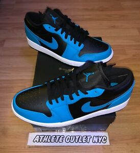 New-Nike-Air-Jordan-Retro-1-Low-Black-Laser-Blue-Men-039-s-10-5-Sneakers-5553558-410