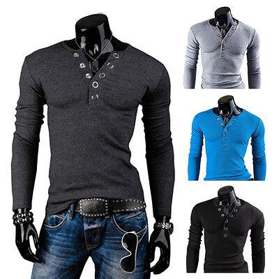 New Mens Stylish Long Sleeve Casual Slim Fit V Neck POLO Shirt T shirts Tee Tops