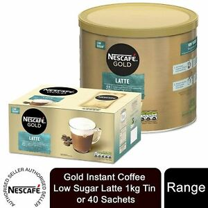 Nescafe Gold Instant Coffee Low Sugar Latte 1kg Tin or 40 Sachets