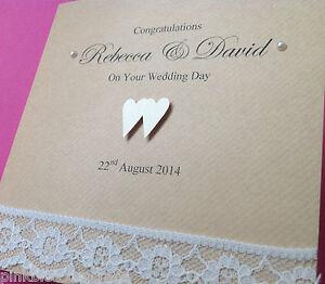 Image Is Loading Handmade Personalised Wedding Card Bride Groom Brown