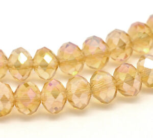 1-STRAND-72-PALE-GOLD-AB-CRYSTAL-FACETED-RONDELLE-BEADS-8mm-Bracelets-49A