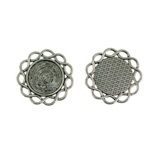 30pcs Round Blank Tray Necklace Pendant Tibetan Silver DIY Jewelry Making