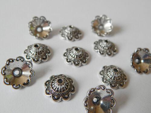 40 große Perlenkappen 16mm 16x6,5mm silber antik Metall XL Metallkappen