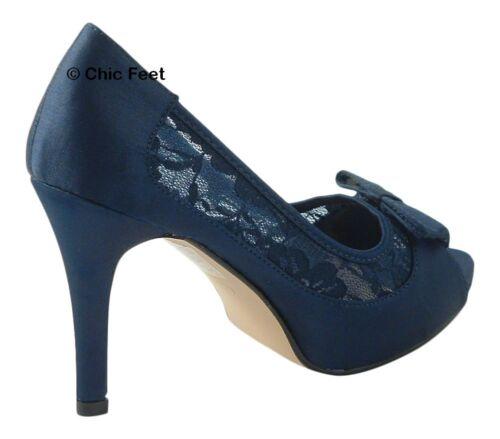 Femme bleu marine noeud dentelle robe de mariage talon haut satin chaussures uk 3-8