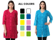 New Indian Lucknawi Chikankari Cotton Front Button Aari Kurti Ethnic Wear Kurta