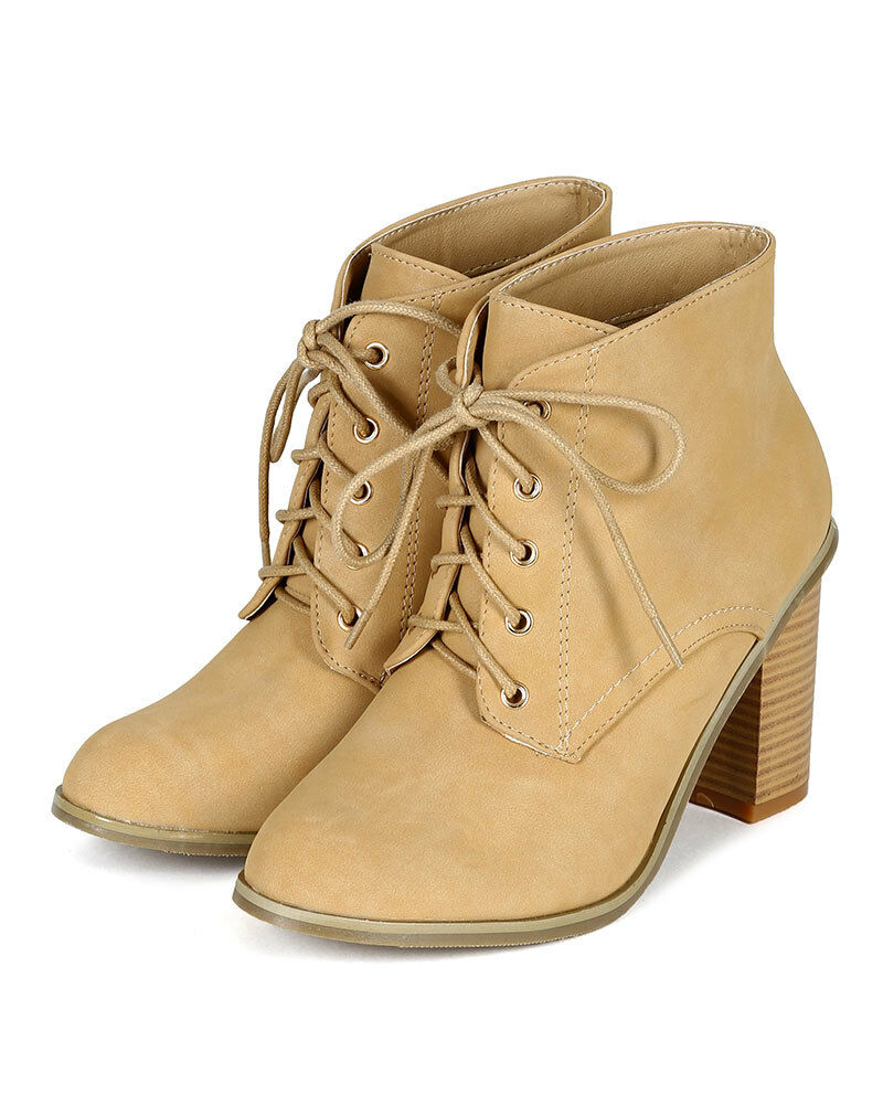 New Women Nature Breeze Almond Toe Oxford Faux Wood Chuky Heel Ankle Bootie