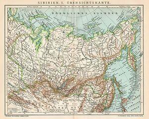 Cartina Russia Siberia.B6325 Russia Siberia Carta Geografica Antica Del 1903 Old Map Ebay