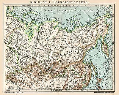 Cartina Siberia Russia.B6325 Russia Siberia Carta Geografica Antica Del 1903 Old Map Ebay