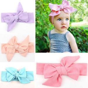 Baby Kid Girl Turban Knot Headband Big Bow Adjustable Solid Rabbit