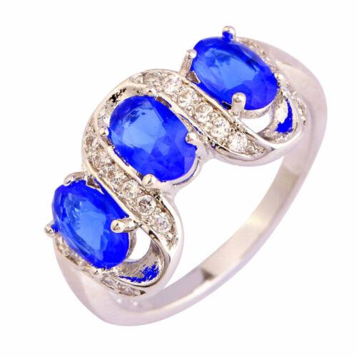 Bague Anneau 925 Plaqué Argent Quartz Saphir Bleu Cristal Strass Femme Bijoux OU
