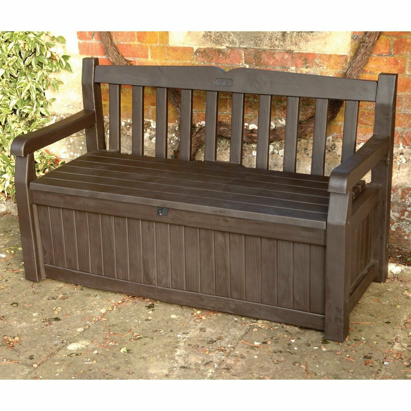 Outdoor Storage Bench Box Patio Deck Brown Pool Garden