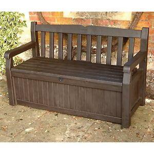 Outdoor Storage Bench Box Patio Deck Brown Pool Garden