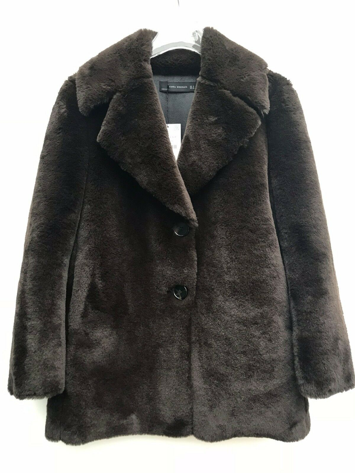 ZARA BROWN FAUX FUR COAT SIZE S M REF 4360 041