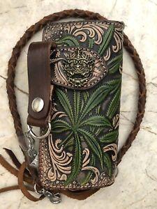 Mens Hanuman Design Biker Trucker Wallet Motorcycle Long Leather Wallet A63
