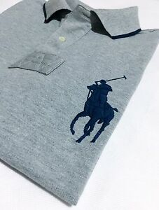 Polo-ralph-lauren-homme-polo-chemise-custom-fit-gris-chine-sh-manche-big-pony