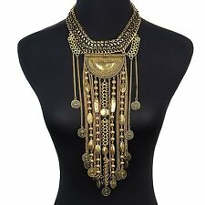 Statement Necklace, Beads Coin Fringe Statement necklace Bohemian Ethnic Tribal
