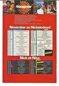Details about Vintage 1985 Nickelodeon November TV Schedule Advertisement