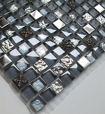Glasmosaik silber-grau mit Ornament-Steinen, 30 x 30 cm, 8 mm Stärke, Metall
