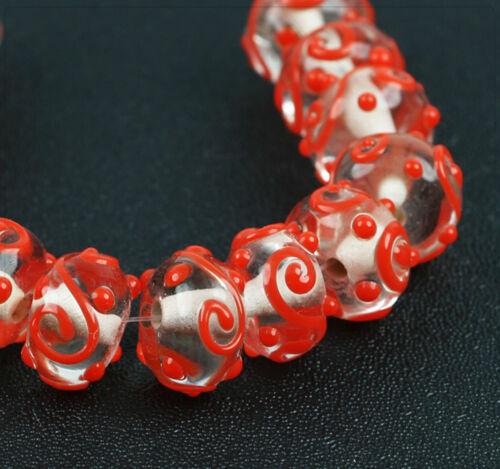4x Lampwork Glasperlen Schmuck Basteln Perlen Beads DIY Transparent 16mm lb088