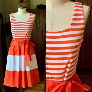 NEIMAN MARCUS Women's Orange Striped Sleeveless Midi Summer Dress Size 8