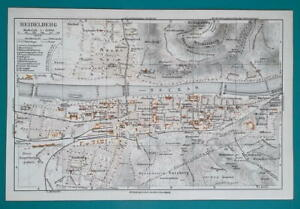 Karlsruhe Map Of Germany.Details About 1936 Map Germany German Reich Heidelberg Karlsruhe City Town Plans
