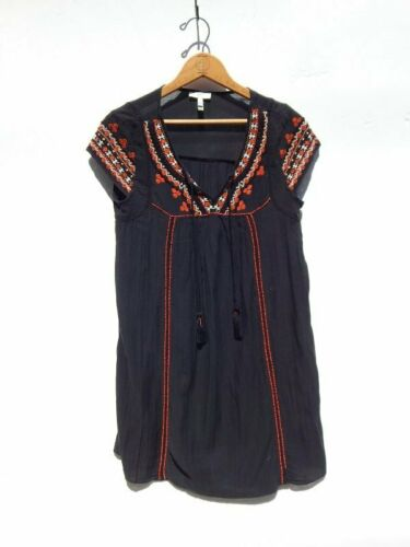 JOIE ~ Black Gauze Embroidered 70's Inspired Mexic