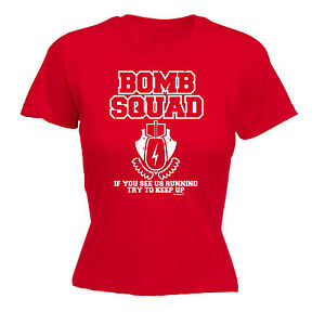 Details About BOMB SQUAD RUNNING TRY TO KEEP UP T SHIRT Humour Funny Birthday Gift Present