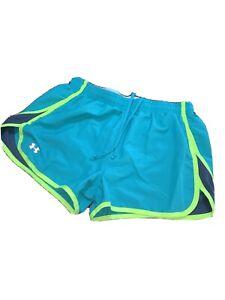 UNDER-ARMOUR-UA-Womens-Neon-Heatgear-Running-Shorts-Green-Blue-UA-Lounge-Pants-M