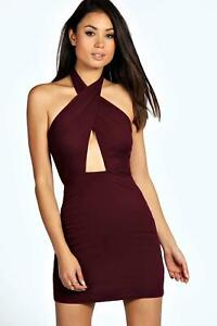 BOOHOO-BERRY-RED-HALTER-PLUNGE-BODYCON-DRESS-UK-10-BNWT