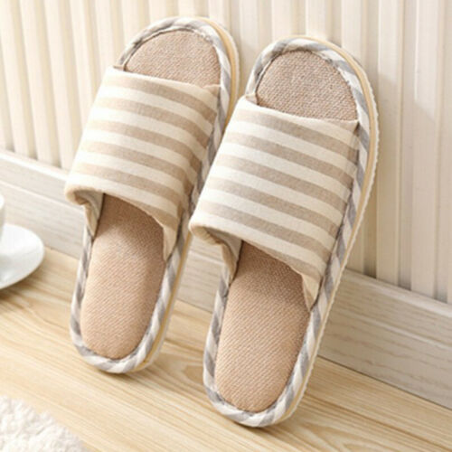 Mens Womens House Indoor Slippers Home Warm Cotton Linen Shoes Sandals Anti-Slip