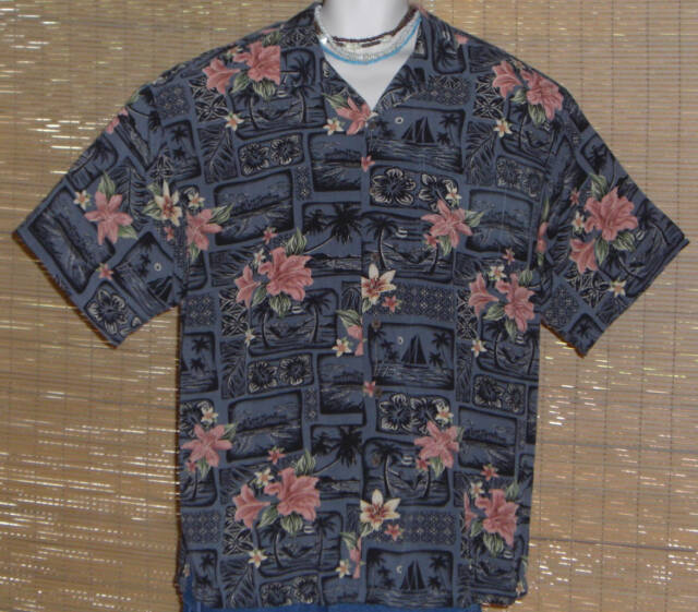 Big Dogs Hawaiian Shirt Gray Black Sailboats Islands Pink Flowers 1978 Size XL