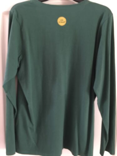"""Life is Good /""""Give Love/"""" size Large Womens L//S Green Crusher V-neck Tee Shirt"""