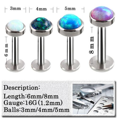 Opal Crystal Body Piercing Lip Nose Stud Labret Ring Bar Club Jewelry 6-8mms1